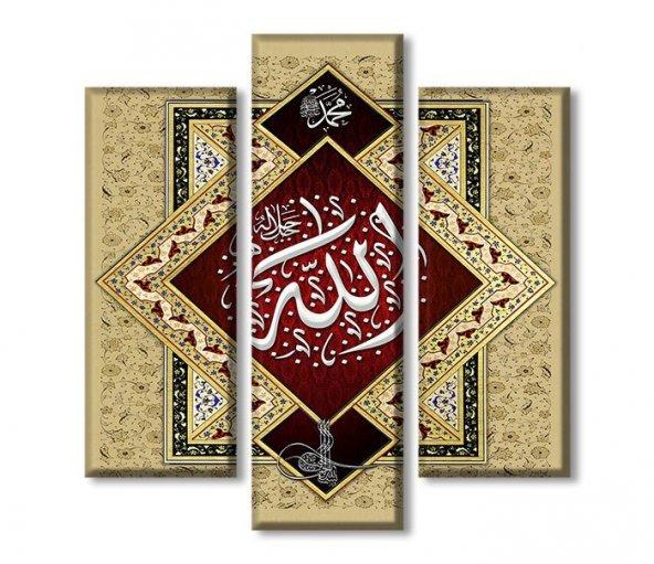 3 Parçalı Kanvas Tablolar - Allah Yazılı Tablo ORTA BOY