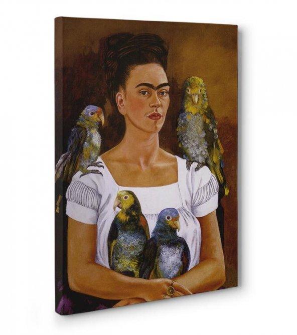 frida kahlo tabloları - Me and My Parrots 80 x 125 cm