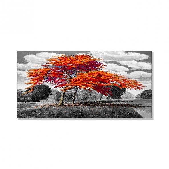 Turuncu Ağaçlar  Kanvas Tablosu 40 cm x 80 cm