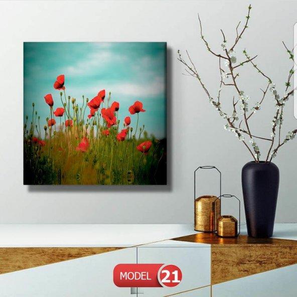 kırmızı gelincik  Resimli Duvar Tablosu 90 cm x 90 cm