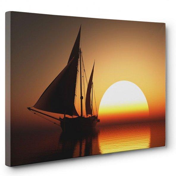 Yelkenli Gün Batımı Tablosu 40x60 cm