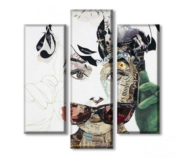 3 Parçalı Kanvas Tablolar - Gözlüklü Kadın Tablosu ORTA BOY