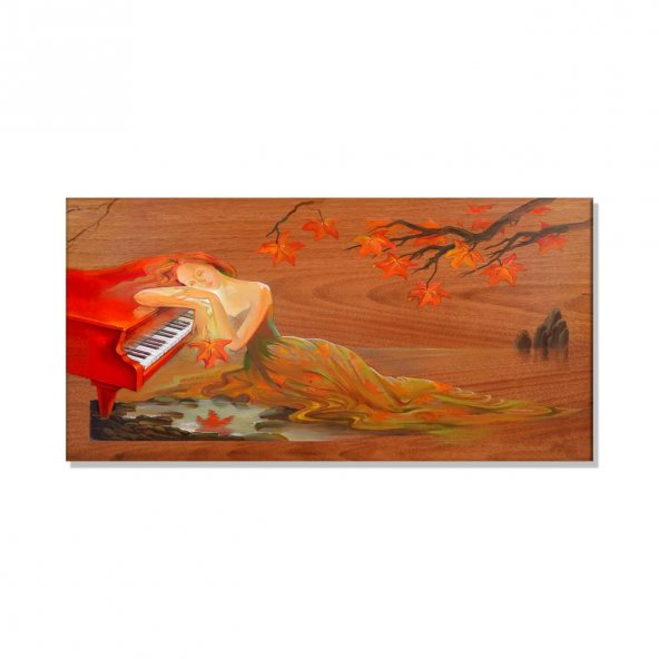 Piyano Çalan Kadın  Kanvas Tablosu 50 cm x 100 cm