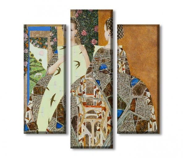 3 Parçalı Kanvas Tablolar - gustav klimt tablo
