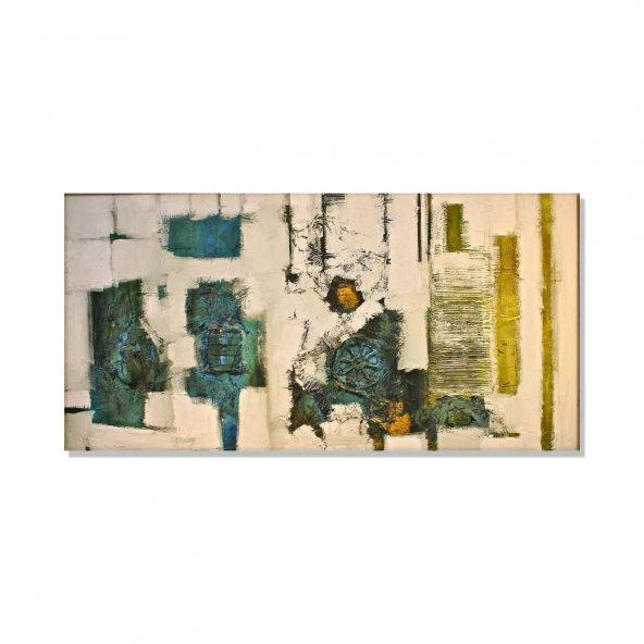 Sarı-Yeşil Soyut  Kanvas Tablo 80 cm x 160 cm