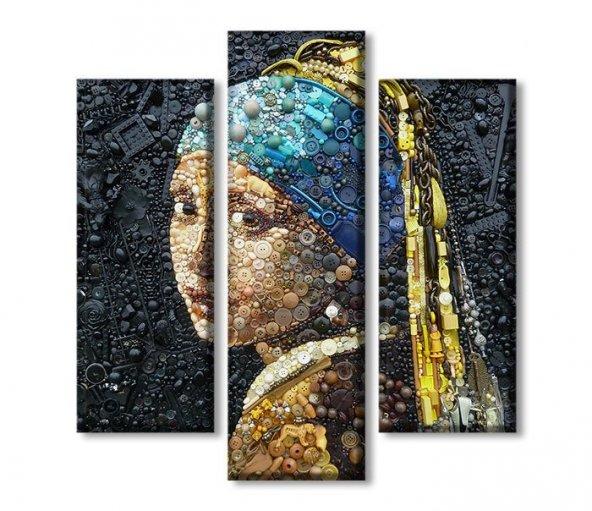 3 Parçalı Kanvas Tablolar - inci küpeli kadın tablosu BÜYÜK BOY