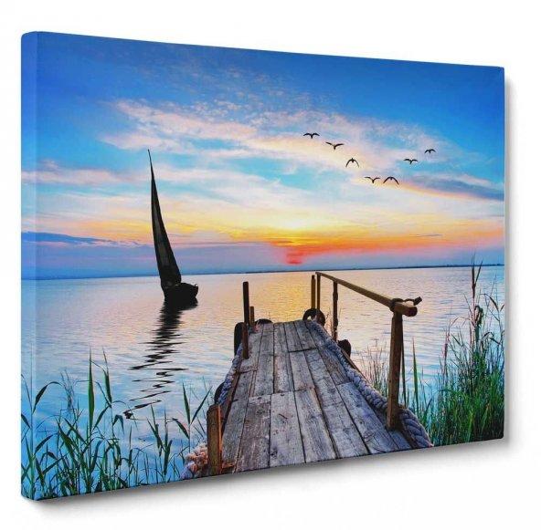 Yelkenli & İskele Gün Batımı Tablosu 30x45 cm