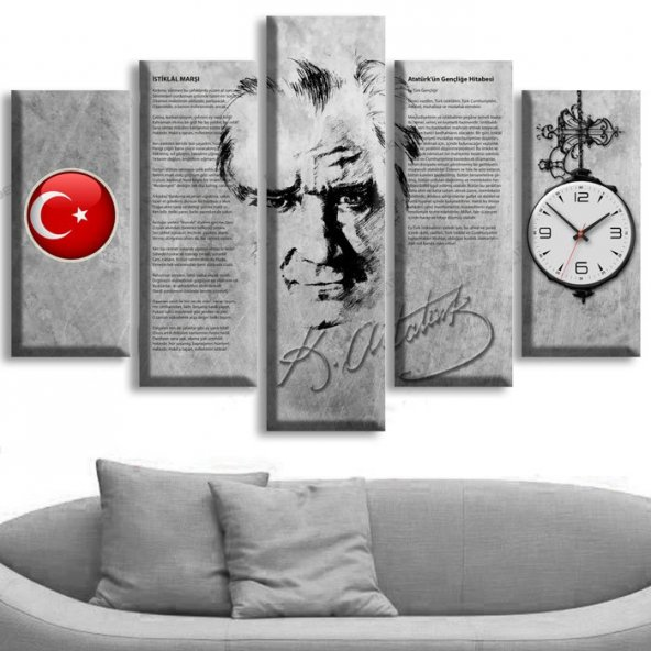 5 Parçalı Saatli Kanvas Tablolar - Atatürk Tablolar ORTA BOY