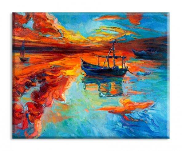 yelkenli tekne modelleri duvar tabloları 50 x 100 cm
