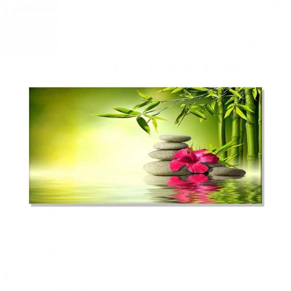 Kırmızı Çiçek -Spa   Kanvas Tablosu 70 cm x 140 cm