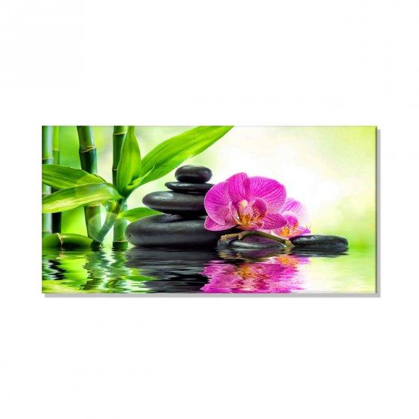 Orkide-Taşlar   Kanvas Tablosu 70 cm x 140 cm