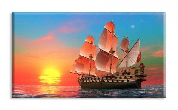 yelkenli tekne tabloları ışıklı tablo 80 x 125 cm