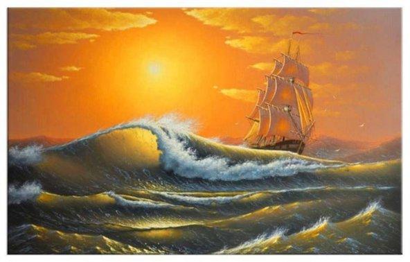 deniz manzara ışıklı tablo modelleri