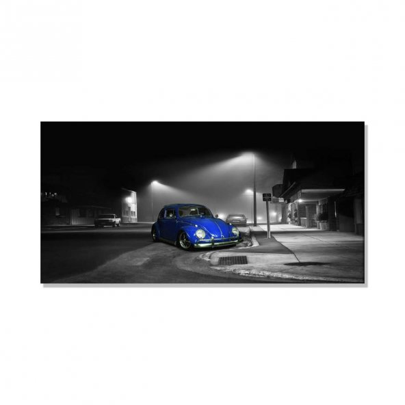 Led Işıklı Mavi Vosvos  Kanvas Tablosu 30 cm x 60 cm