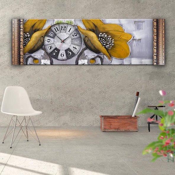 Sarı Çiçekli Duvar Saati- Kabartma Çerçeveli Saatli Kanvas Tablo