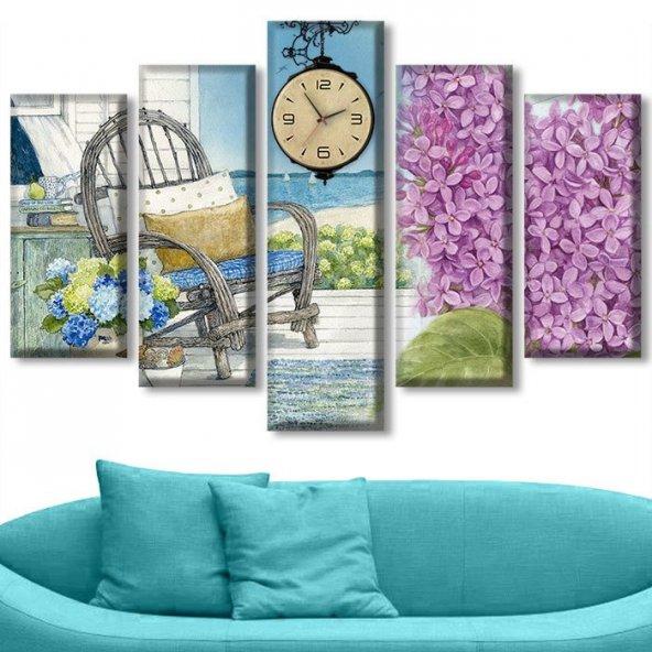 5 Parçalı Saatli Kanvas Tablolar - Çiçekli Tablolar