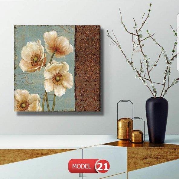 krem-bej çiçek Resimli Duvar Tablosu 40 cm x 40 cm