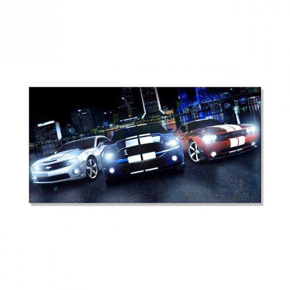 Led Işıklı Spor Arabalar  Kanvas Tablosu 80 cm x 160 cm