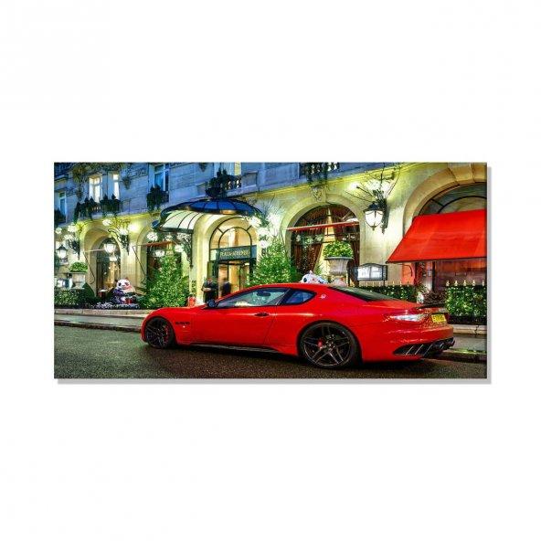 Led Işıklı Kırmızı Spor Araba   Kanvas Tablosu 60 cm x 120 cm