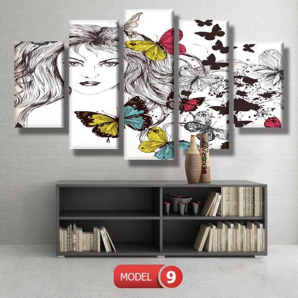 kelebekli kadın  resimli kanvas tablo MODEL 16 - 184x107 cm