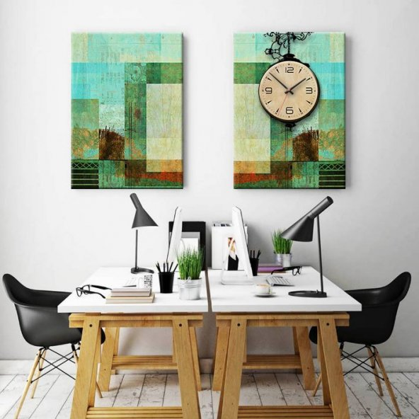 Duvar Saati - 40x60 2 Parçalı - Soyut Kanvas Tablo
