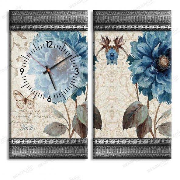 5 cm Kabartma Çerçeveli Saatli Tablo - Mavi Çiçek Tablo 2 Adet 55x30 cm