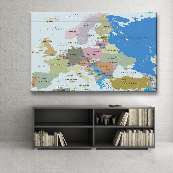 Avrupa Haritası Tablosu 125x80 cm