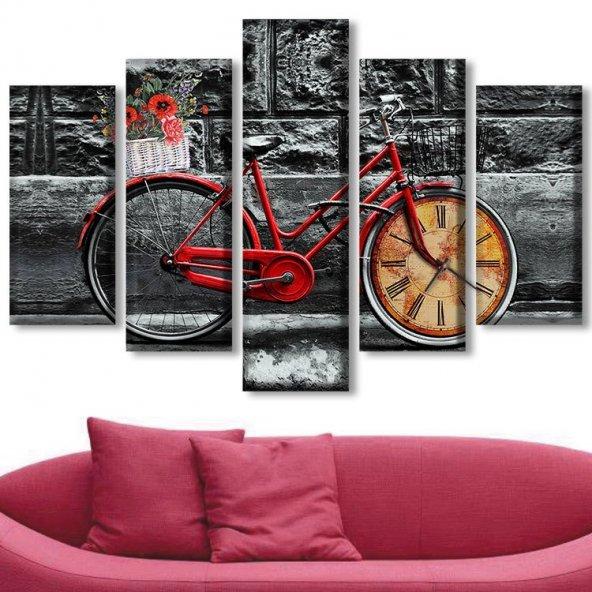 5 Parçalı Saatli Kanvas Tablolar - Saatli Bisiklet  Tablolar