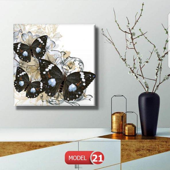 siyah kelebek  Resimli Duvar Tablosu 80 cm x 80 cm