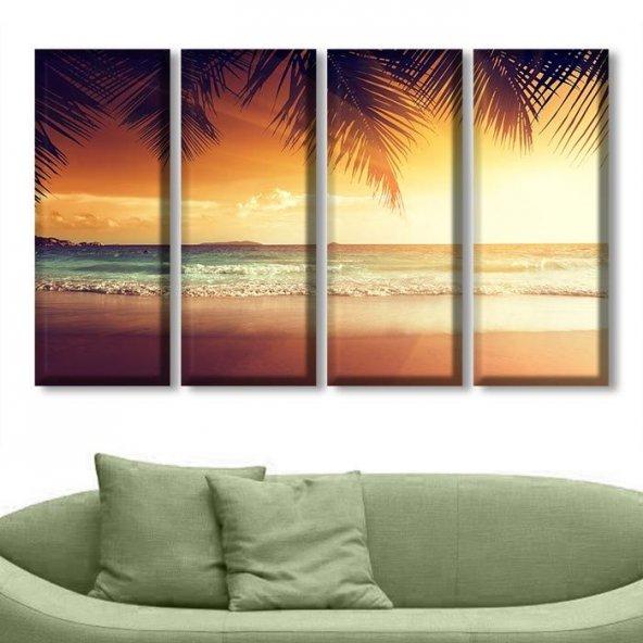 Palmiye Günbatımı 4 Parçalı Kanvas Tablo