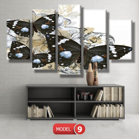 siyah kelebek resimli kanvas tablo MODEL 12 - 123x90 cm