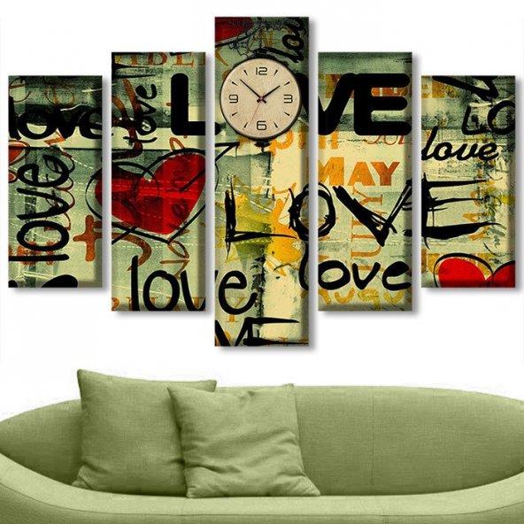 5 Parçalı Saatli Kanvas Tablolar - Saatli Love Kanvas Tablo