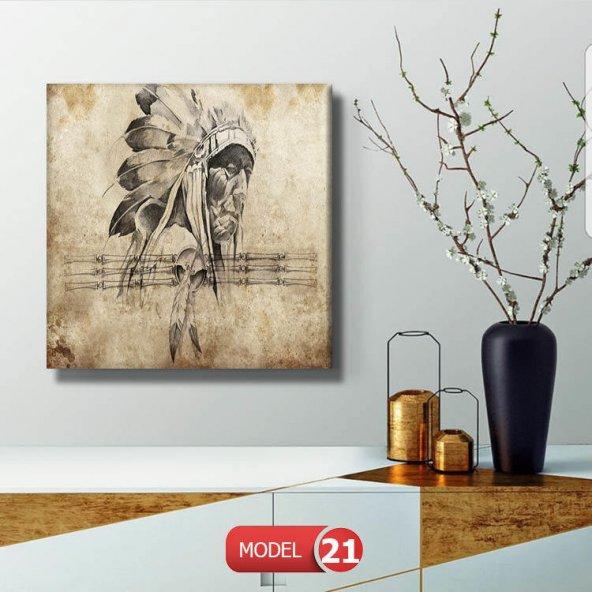 kızılderili  Resimli Duvar Tablosu 90 cm x 90 cm