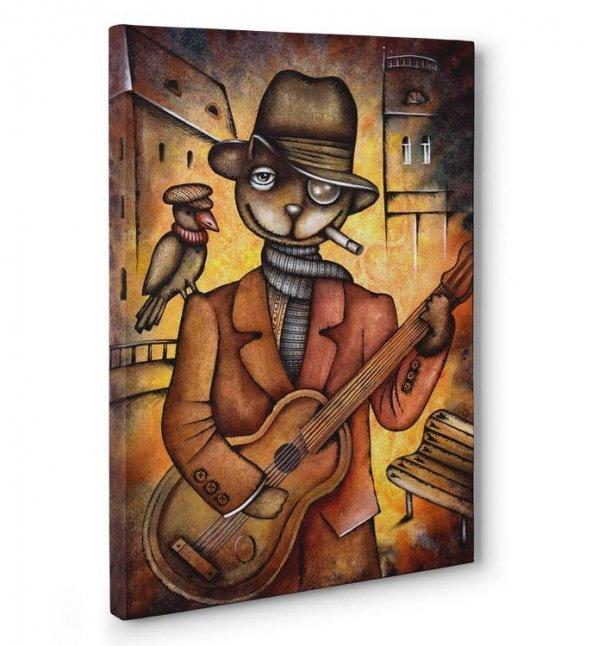 Müzisyen Kedi Kanvas Tablosu