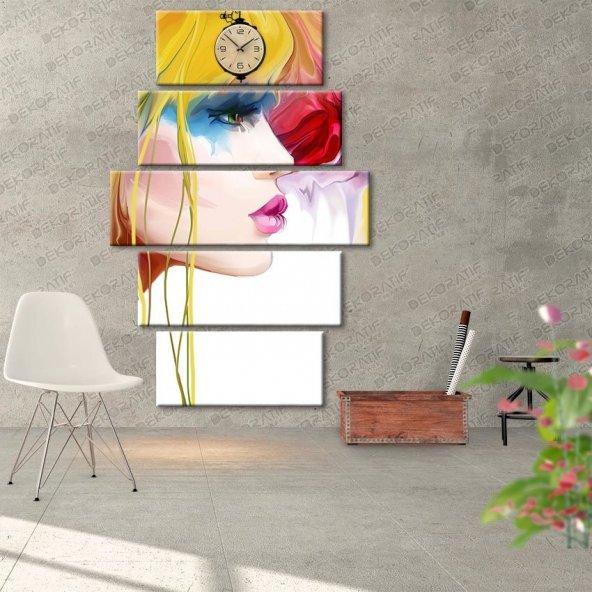 Saatli 5 Parçalı Tablo Kanvas Duvar Saati -Güzellik Tablosu