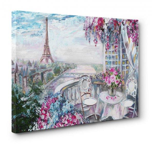 yağlı boya görünümlü eyfel kulesi  kanvas tablosu 70 cm x 140 cm