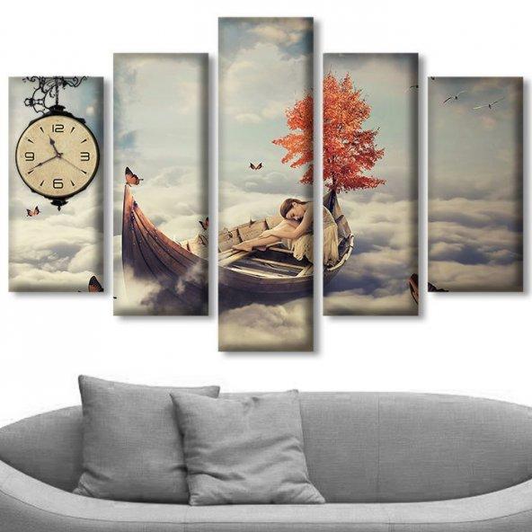 5 Parçalı Saatli Kanvas Tablolar - Parçalı Duvar Saatleri ORTA BOY