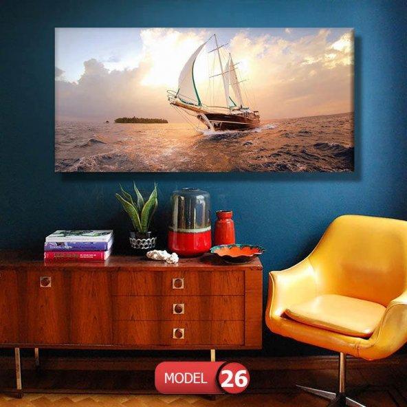 günbatımı tekne resimli  duvar tablosu 100 x 200 cm