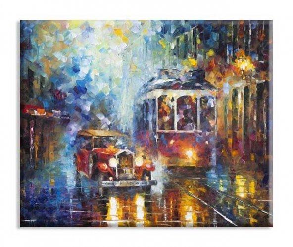 Tramvay Yağlıboya Reproduksiyon Yatay Kanvas Tablo 100 x 200 cm