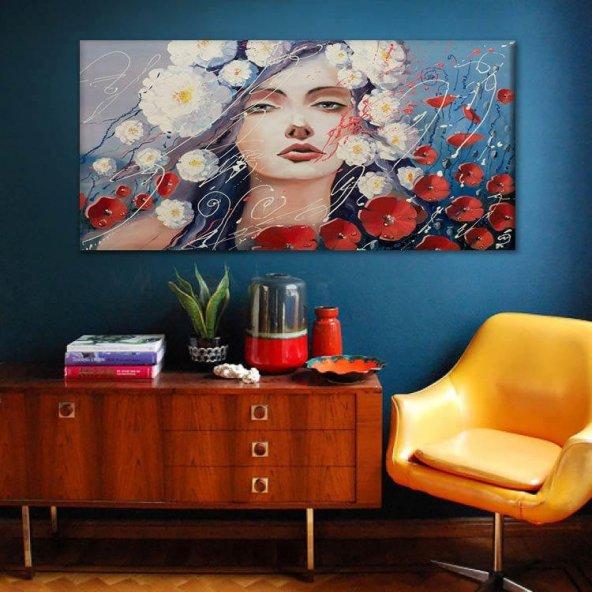 kadın çiçektir temalı kanvas tablo 50 cm x 100 cm