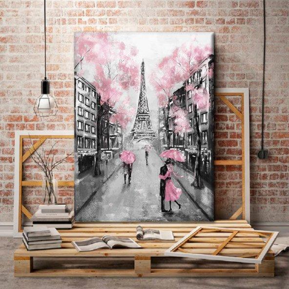 Siyah Beyaz Eyfel Kulesi Temalı Kanvas Tablo 70x100 cm