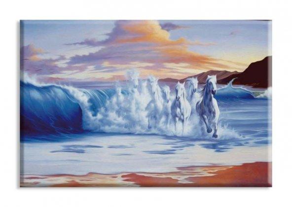 Denizden Gelen At Yağlıboya Reproduksiyon Yatay Kanvas Tablo 30x45 cm