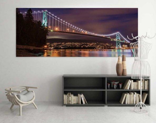Köprü Manzara Led Işıklı Kanvas Tablo 70 cm x 140 cm