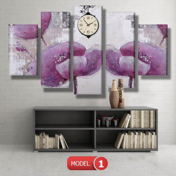 pembe çiçek saatli kanvas tablo