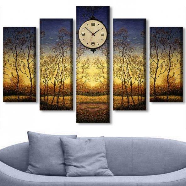 5 Parçalı Saatli Kanvas Tablolar -  Simetrik Ağaç Manzara Duvar Tabloları