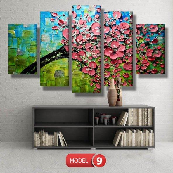 5 parçalı-pembe çiçekli ağaç tablosu