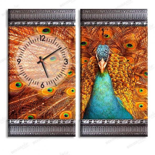 5 cm Kabartma Çerçeveli Saatli Tablo - Tavuskuşu Duvar Tabloları 2 Adet 70x40 cm