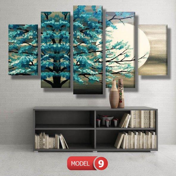 5 parçalı-turkuaz ağaç tablosu MODEL 9 - 162x75 cm