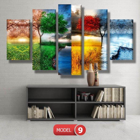 5 parçalı-renkli dört mevsim  tablosu MODEL 13 - 120x60 cm