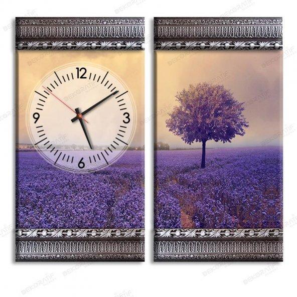5 cm Kabartma Çerçeveli Saatli Tablo - Lila Ağaç Tablosu